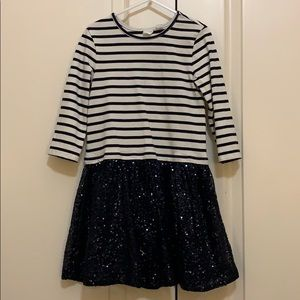 Girls GAP navy striped dress with sequined skirt